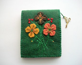 Green Needle Book with Hand Embroidered Felt Flowers and Gold Tone Scissors Charm