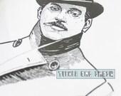 Steam Punk Smoking Card -Jim Tom's Blank Greetings - Dapper Man