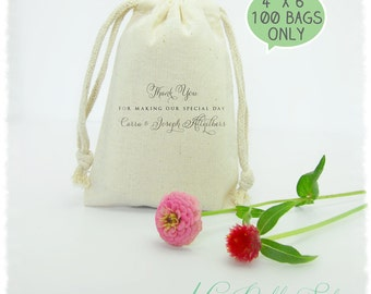 """100 Premium Muslin Bags 4""""x6"""" (High quality with double drawstring). DIY Wedding Favors, Jewelry Packaging, Business Branding, Social Links"""