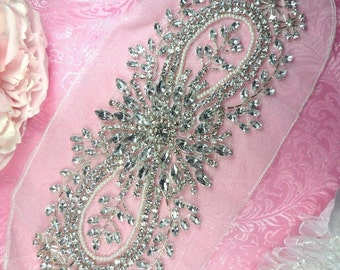 """JB34 Silver Beaded Crystal Clear Rhinestone Pearl Applique on White Net Backing 10.5""""  Sewing Craft Bridal Motif  (JB34-whslcrp)"""