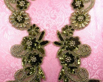 "0183 Mirror Pair Sequin Beaded Appliques Olive Gold 10""  (0183X-glov)"