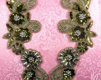 "0183 Appliques Mirror Pair Sequin Beaded Olive Silver 10""  (0183X-slov)"