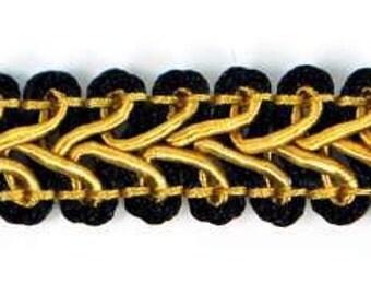 "E1901 Black Gold Gimp Sewing Upholstery Trim 1/2"" (E1901-BKGL)"
