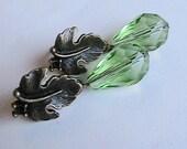 Green Leaves Earrings, Leaf Earrings, Greeb Dangle Earrings, Beaded Earrings, Antique Brass Leaf, Leaves, Vintage, Antique