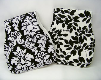 Contoured Burp Cloth in Dandy Damask in Black - Shoulder Cloth - Set of Two - Ready To Ship