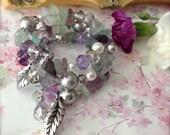 Bracelet Fluorite Gemstone Purple Green Bead Wrap Bangle  - Boho Positivity
