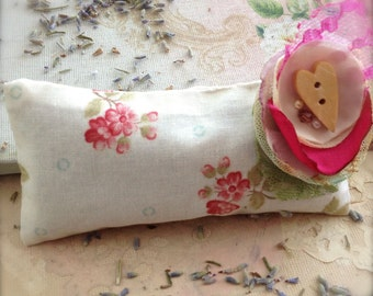 Organic Dried Herb Sachet Lavender Pillow Floral Country Cottage Handsewn Small Pillow