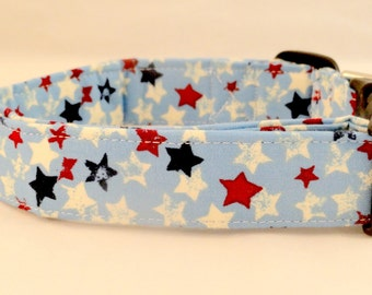 Patriotic Red White and Blue Stars on Sky Blue Dog Collar