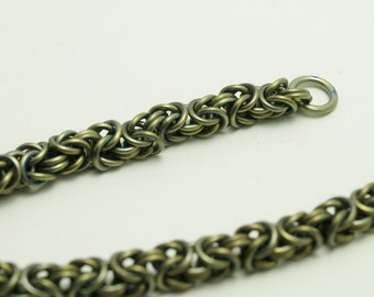 Titanium Byzantine Chainmaille Anodized Citron Color Bracelet Medium
