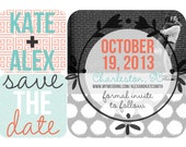 Save the Date Magnets- Greek Key Ikat Design