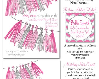 Tassel Baby Girl (20 printed 5x7 invites with glitter)