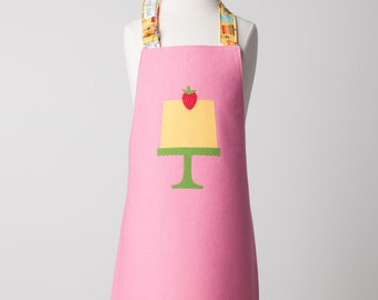 Kid Reversible Appliqué Apron with Strawberry Cake