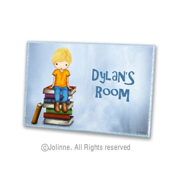 Boys room door sign, personalized, kids art