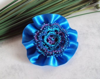 Flower Hair Clip / Brooch - Blue Purple Turquoise Beaded Tatted Lace Hair Clip - Prom Accessory - Rosetta