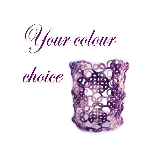 Fantasy Lace Cuff in Tatting Your Choice of Colour - Bess - One Colour