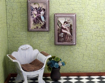 Doll House Wall Hanging - Butterfly Women - Brown Frame - Set of Two