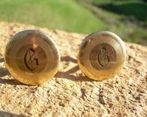 Vintage Anson 1/20 12K GF Monogrammed Old English Initial Letter G Mens round Cuff links