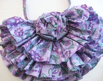 Lavender Print Hand Bag with Ruffles and Rose