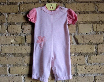 Vintage 1970s Size 6M Health Tex Pink and White Jumpsuit