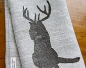 """linen tea towel block printed with cat with antlers """"catalope"""" (graphite on oatmeal linen)"""