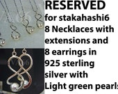 Reserved for stakahashi6 Bridesmaids Set of 8 Light Green Swarovski Pearls 8 necklaces 8 earrings 925 sterling silver Twist Feng Shui No. 8