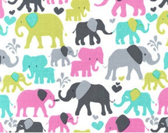 Michael Miller Fabric Elephant Walk Whimsical Elephants in Orchid Pink Gray on White