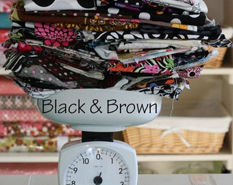 Fabric by The POUND Black and Brown and Gray Grey