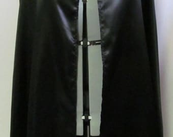 Adult Size Cape Costume Cosplay Black Satin Size S M L XL