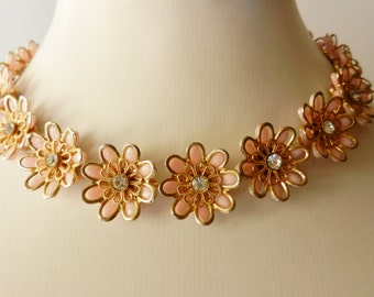 Adorable and beautiful Flowers Choker Necklace , vintage 1950s - Gorgeous jewel collector--  peach flowers for the bride to May - Art.361/2-