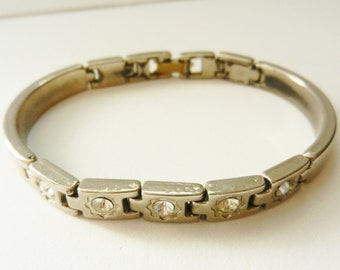 Beautiful Vintage 1970 tennis Bracelet - silver and crystal - male line but very chic and glamorous -art.502/2-