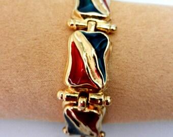 Original bracelet vintage 1960  signed- articulated modules, in gold and enamel -lovely italian bracelet-Art.417 -