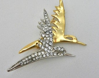 1960s vintage quality Italian BROOCH - crystals and two metal tones   for double flight of bird - ART.455 -