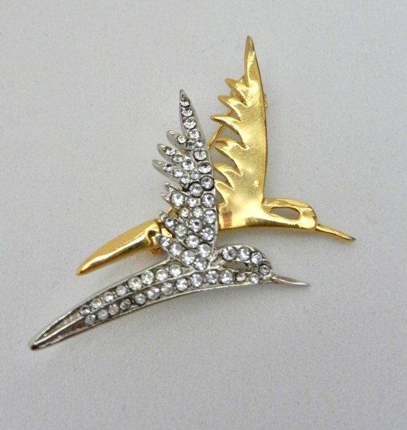 ITALIAN BROOCH, 1960s vintage quality - crystals and two metal tones   for double flight of bird - ART.455 -