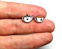 Lil' Teapot & Teacup, Stud Earrings