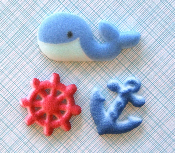 Nautical Edible Sugar Decorations for Cupcake and Cake