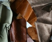 Leather pieces, leather scraps, diy and craft supply leather pieces for applique,(bag 3) leather hide lamb skin pieces FREE SHIPPING