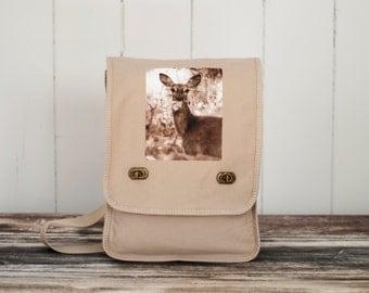 Oh, Deer - Messenger Bag - Woodland - Field Bag - School Bag - Stone Beige - Canvas Bag
