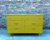 Vintage Dresser In Mustard Yellow