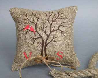 Wedding rustic natural linen Ring Bearer Pillow Red Cardinals on the Tree and linen rope