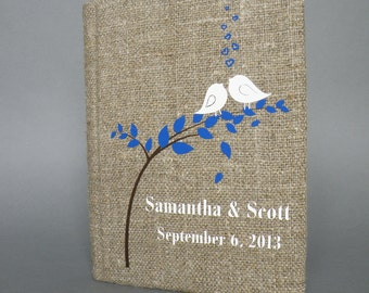 Wedding Guest Book / Wedding Book / Rustic Wedding Guest Book /  Linen Guest Book Size 6.1 inches X 8.3 inches White birds Blue Leaves