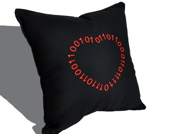 Binary Heart Pillow - Valentine's Day Geeky - ready to ship
