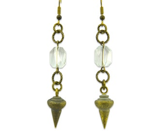 Brass Vintage and Crystal Earrings