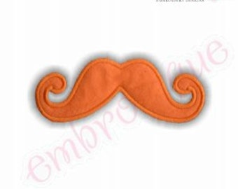 Handlebar Mustache Applique - Raw Edge & Satin Stitch Included- Instant Email Delivery Download Machine embroidery design