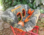 MOSSY OAK CAMO or Real Tree Camo and Orange Fully Padded Reversible Boutique Shopping Cart Cover - More Colors Available
