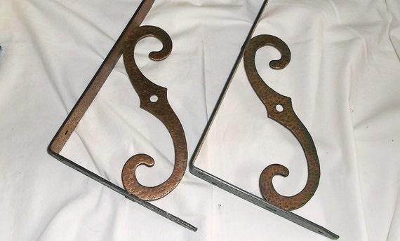 Vintage Iron Shelf Brackets . Hammered Copper Texture . 2