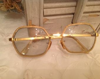 Vintage Tura Gold Framed Eyeglasses ~ Vintage Eyewear ~  Tura Eyeglasses ~ Hipster Modern ~ Stylish Frames