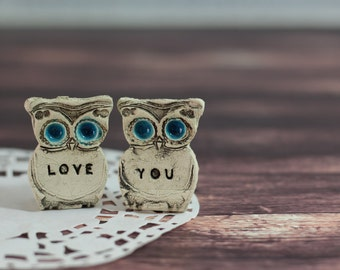 Anniversary gift Owls Wedding cake topper Love you owls - Wedding gift