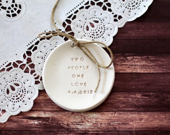 Personalized wedding ring dish Two people one love plus date Wedding ring bearer Ring pillow alternative ,Ring bearer pillow alternative