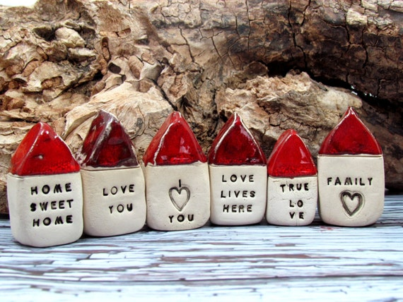 Message houses Miniature houses  Little rustic houses Red house Ceramic house Note house Mother's day
