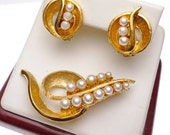 Faux Pearl Gold Tone Pin and Earrings Set